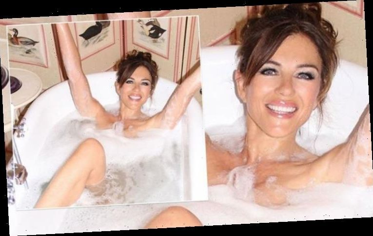 Liz Hurley poses naked in revealing bubble bath snap as she celebrates 55th birthday