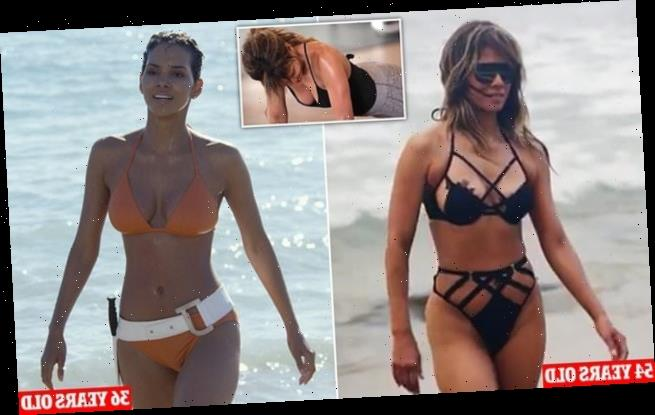 Halle Berry frolics in a black bikini for her wellness brand Respin