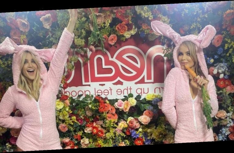 Amanda Holden leaves little to the imagination as she flaunts tanned legs in Easter Bunny costume