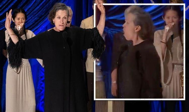 Frances McDormand HOWLS during Oscars 2021 acceptance speech in honour of late friend