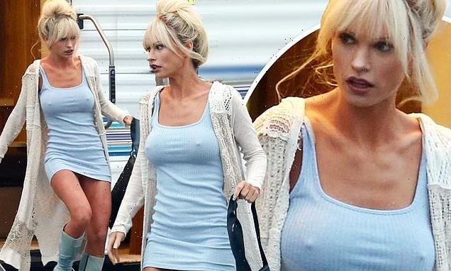 Lily James showcases a fake bust to imitate Pamela Anderson's chest