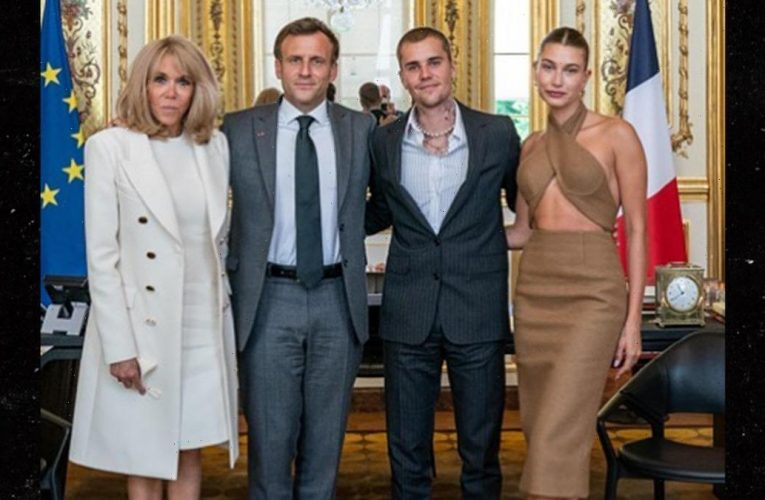 Justin & Hailey Bieber Meet French President Emmanuel Macron