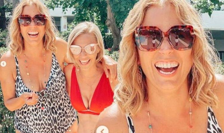 A Place In The Suns Jasmine Harman and Laura Hamilton don swimwear for Spanish reunion
