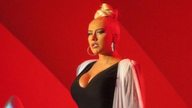 Christina Aguilera Is Glam In Low Cut Black Top As She Performs At The Hollywood Bowl  Photos