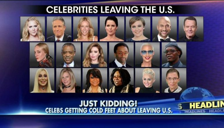 Celebrities leaving the us if trump is elected