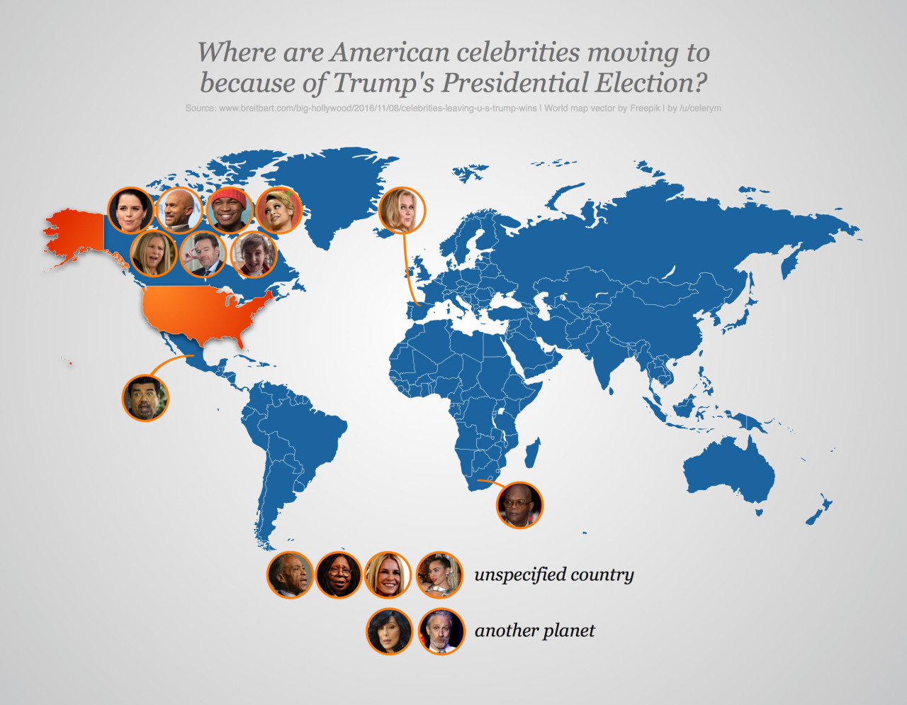 Celebrities moving because of trump