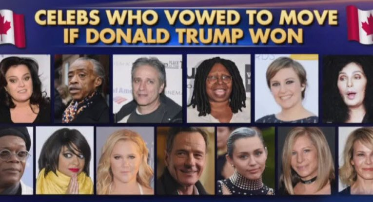 List of celebrities moving if trump is elected